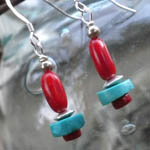 Coral and Turq Earrings