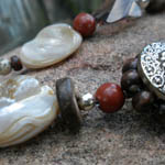 Red Jasper Mother of Pearl Necklace